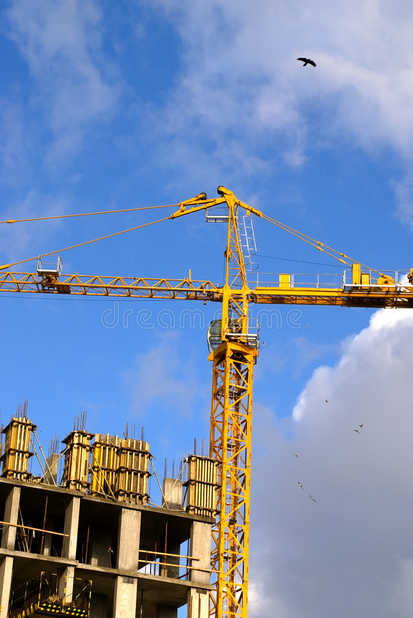 Free Crane With Birds Royalty Free Stock Images - 4156869