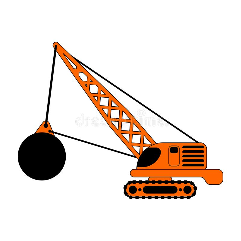 Free Crane With Wrecking Ball Isolated. Construction Machinery Vector Royalty Free Stock Photos - 120684598