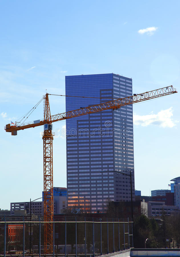 Download A crane at work. stock image. Image of sites, portland - 13122071