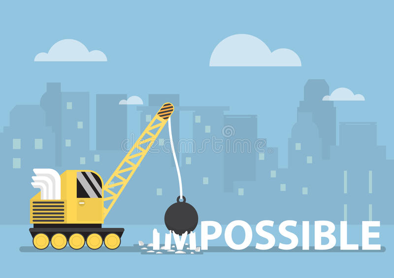 Crane with wrecking ball making the impossible possible vector illustration