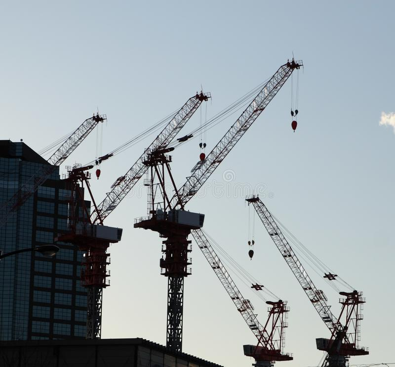 Download Cranes stock image. Image of billboard, sign, blue, sunset - 12803367