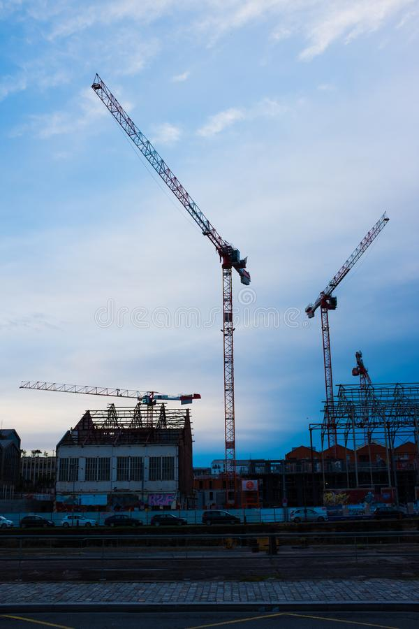 Cranes in Bordeaux stock photo