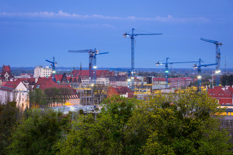 Cranes of building constraction. In city center of Gdansk, Poland royalty free stock photo