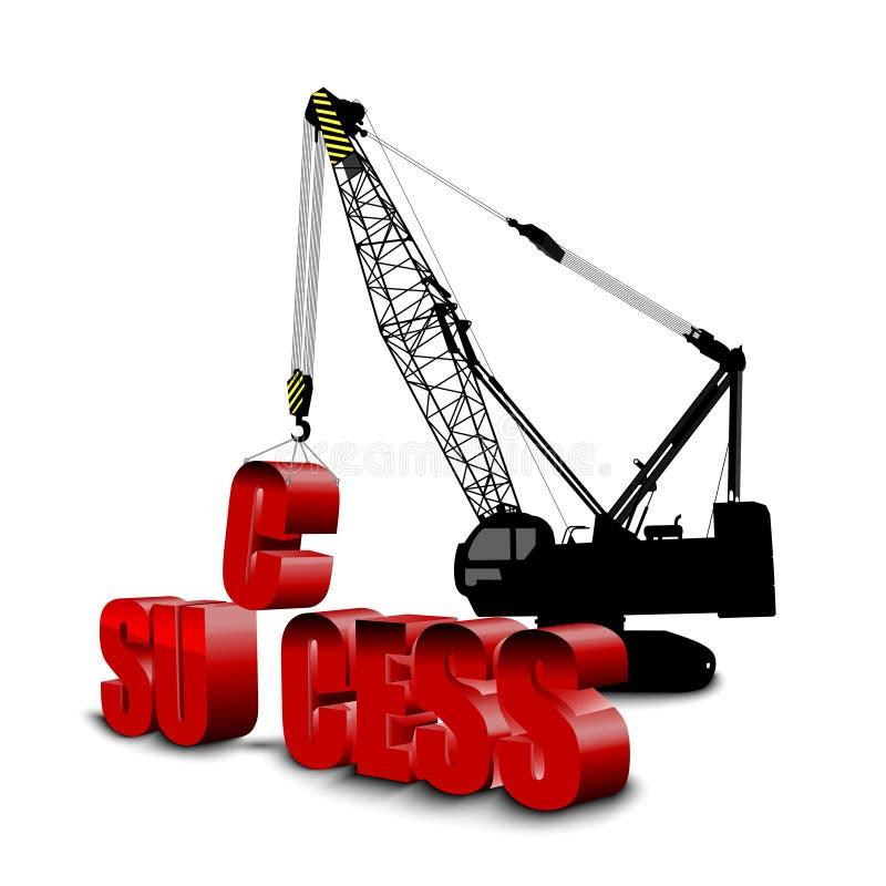 Cranes building SUCCESS background. Illustration of Cranes building SUCCESS background royalty free illustration