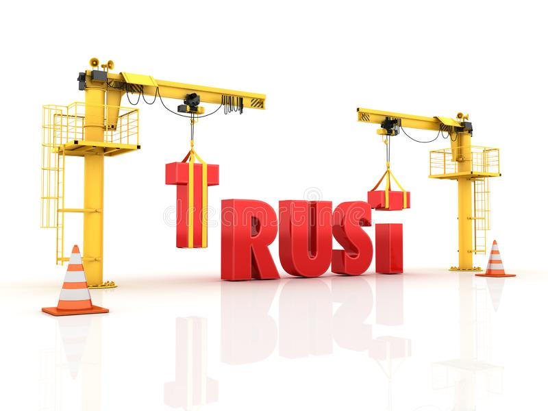 Cranes building the TRUST Word vector illustration