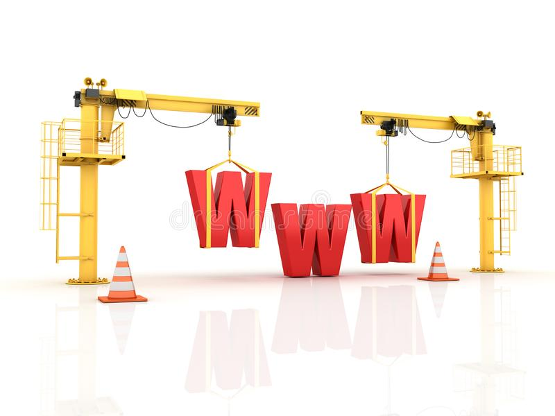 Cranes building the WWW Word royalty free illustration