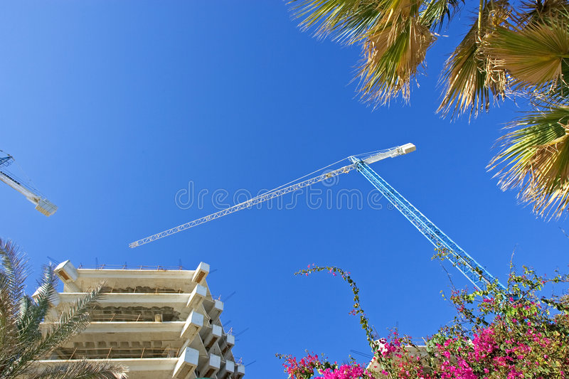 Cranes, buildings and flowers against a deep blue sky royalty free stock photos