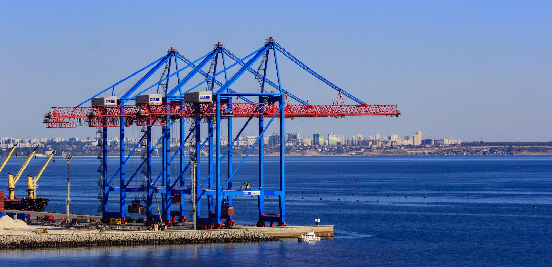 Cranes in the cargo port royalty free stock photos