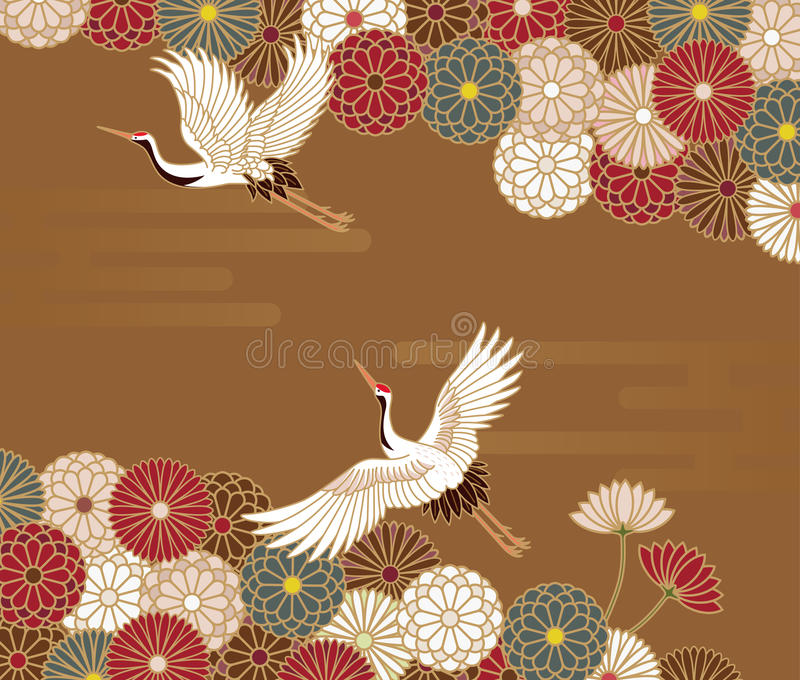 Cranes and chrysanthemums Japanese traditional pattern vector illustration