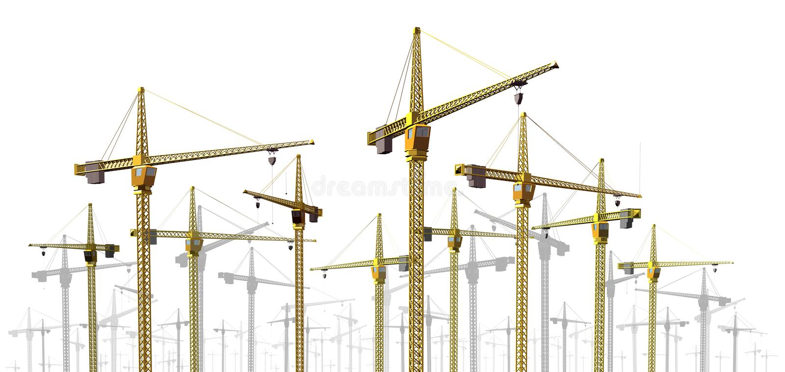 Cranes at Construction Site. Border design element as a development and economic growth symbol with a group of commercial industrial building equipment on a royalty free illustration
