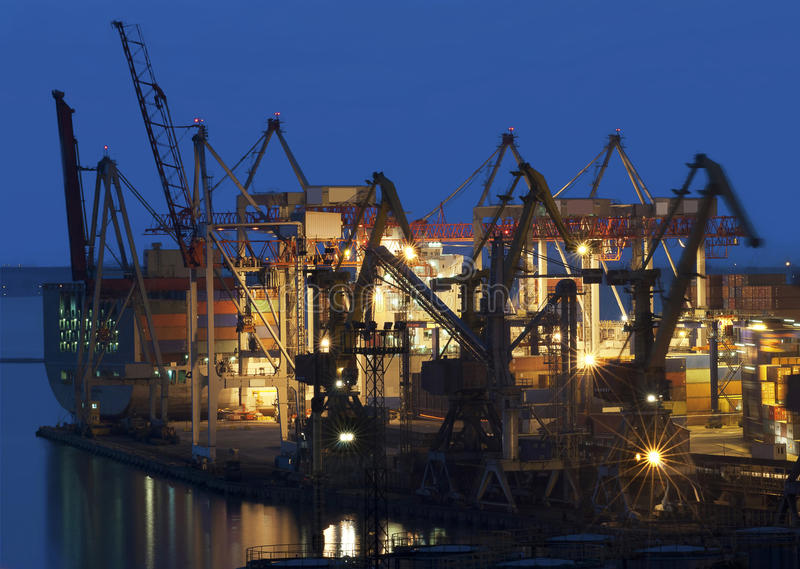 Download Cranes At The Container Port Terminal Stock Photo - Image: 23210500