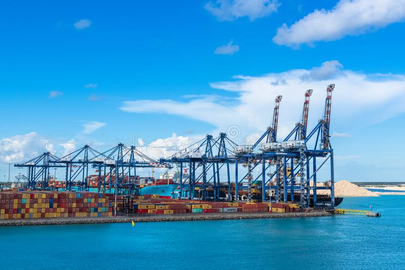 Cranes and containers at the Freeport city, Grand Bahama, Bahama stock photo
