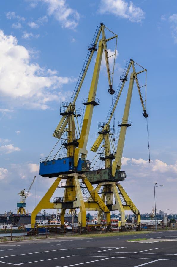 Cranes on dock royalty free stock photos