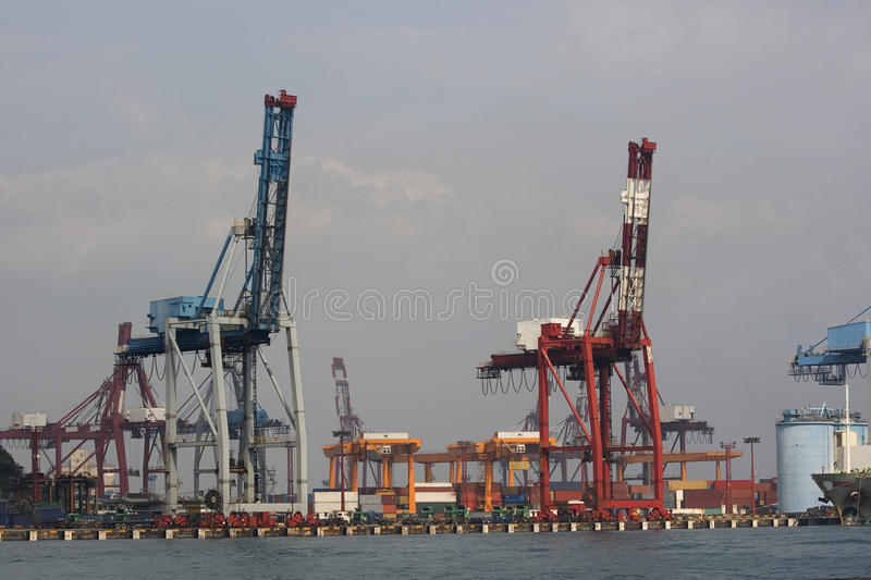 Cranes at the Docks stock images