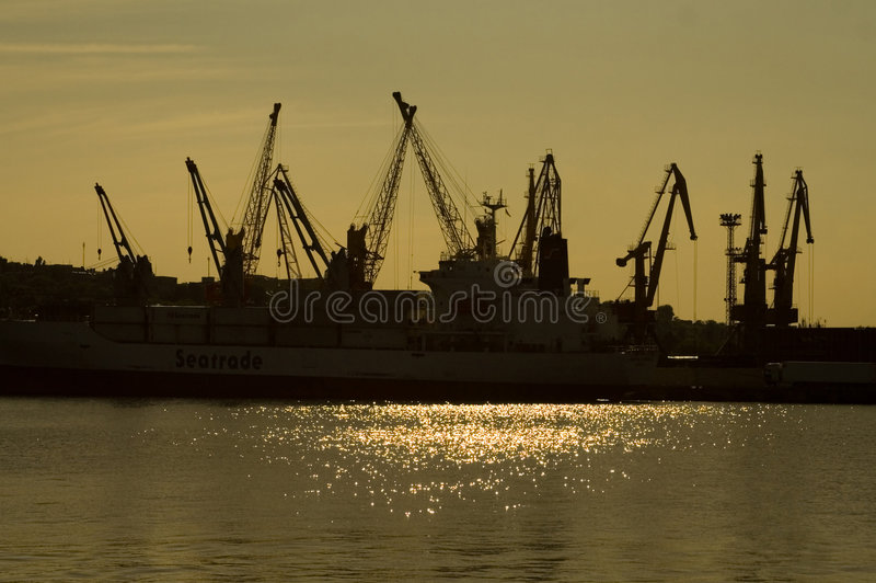 Cranes in the harbour stock photography