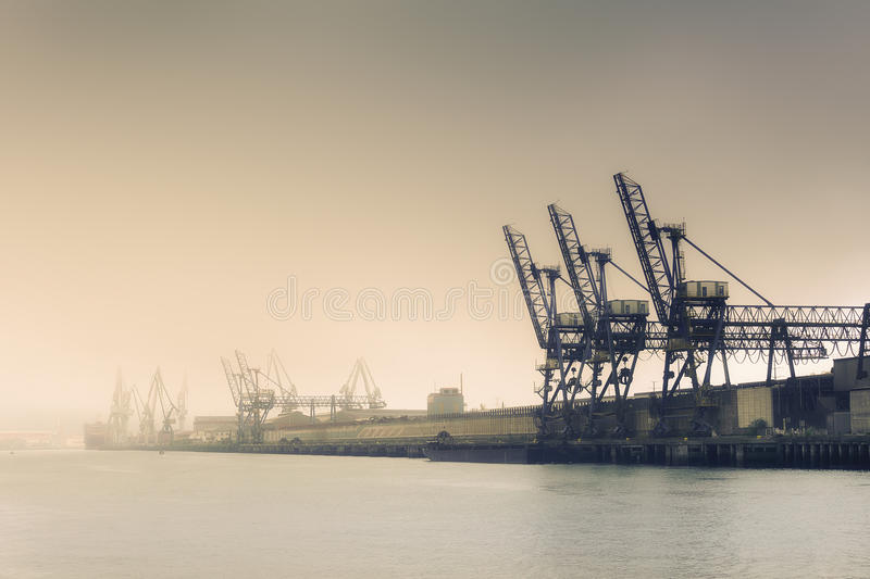 Cranes and industrial heavy machinery stock photography