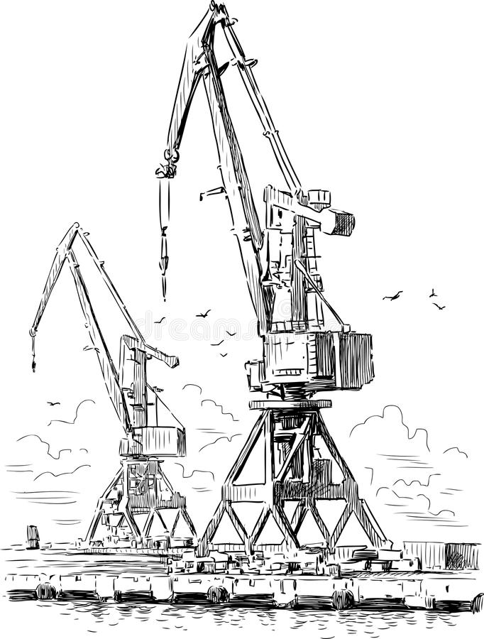 Cranes in the industrial port stock illustration