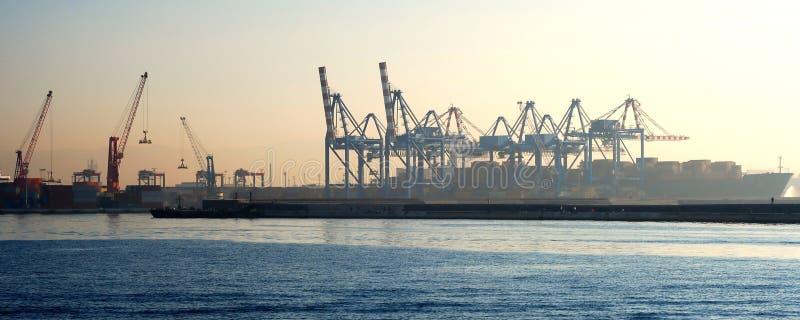 Cranes in Naples harbor panorama stock photo