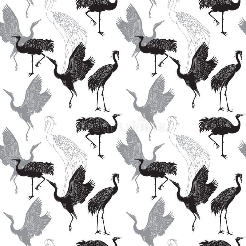 Cranes o teste padrão sem emenda dos pássaros ilustração stock
