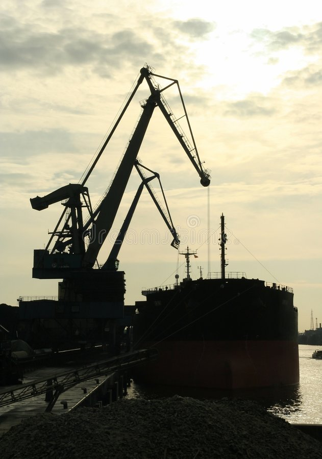 Download Cranes in port stock image. Image of silhouetted, ship - 314057