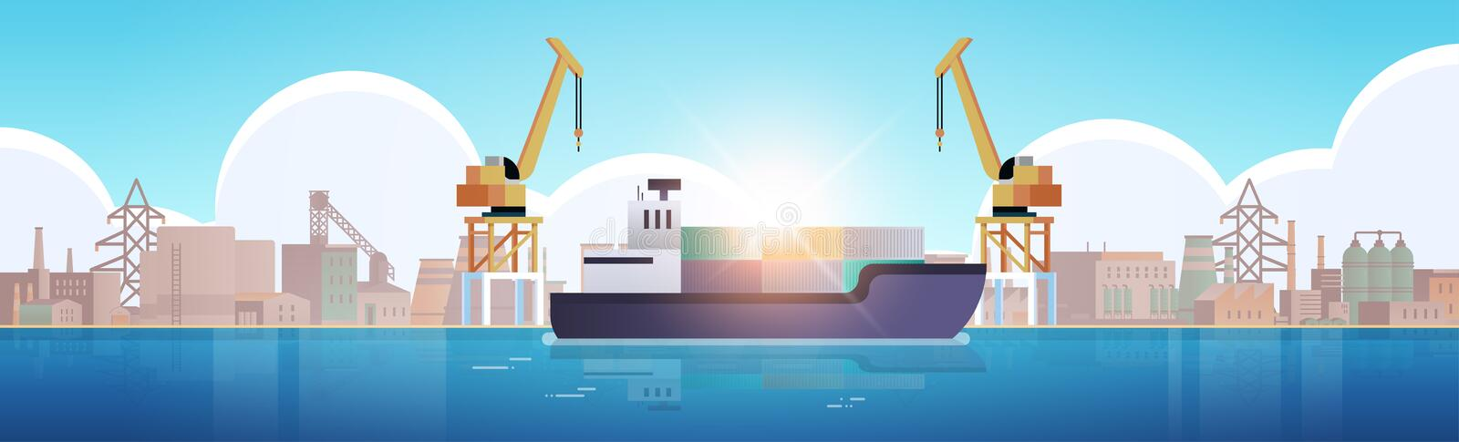 Cranes in port loading containers on ship cargo industrial seaport sea transportation logistic maritime shipping concept royalty free illustration