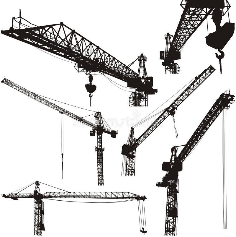 Cranes silhouettes stock photo