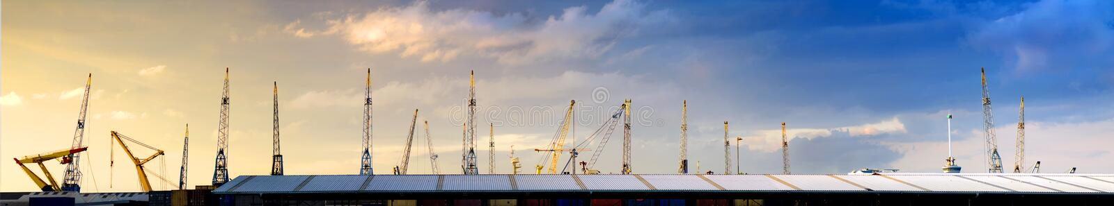 Cranes skyline stock photography