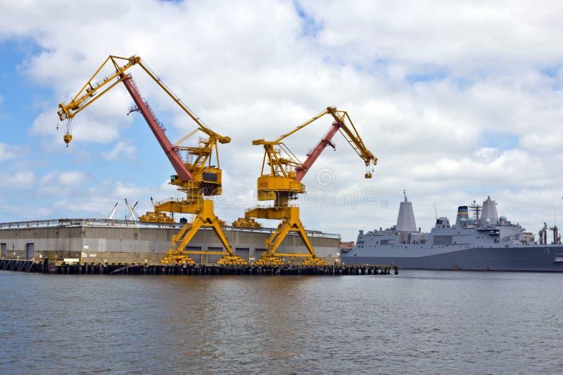 Cranes in US Navy Yard stock photos