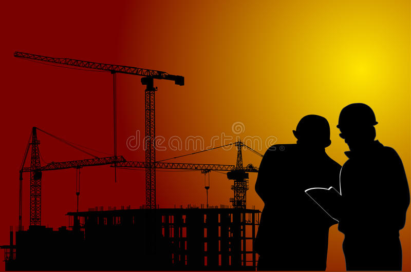 Cranes  And Wokers At Red Sunset Royalty Free Stock Image