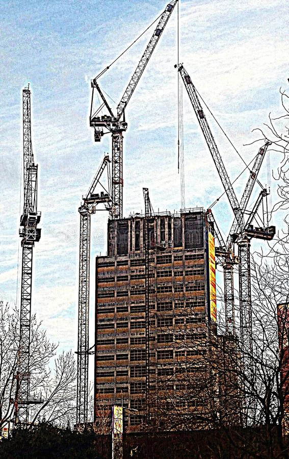 Cranes at Work, New Building London. Five cranes working on a new tower block building. Digital art from a photo taken on the South Bank near London Waterloo stock photography