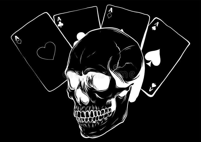 Crani con le schede di gioco Insieme delle illustrazioni di vettore royalty illustrazione gratis