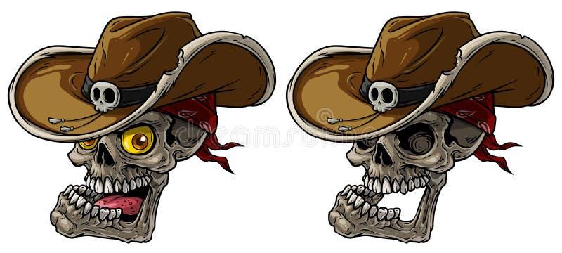 Crani del cowboy del fumetto con il cappello e la bandana illustrazione di stock