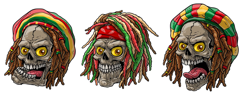 Crani giamaicani di rasta del fumetto con i dreadlocks royalty illustrazione gratis