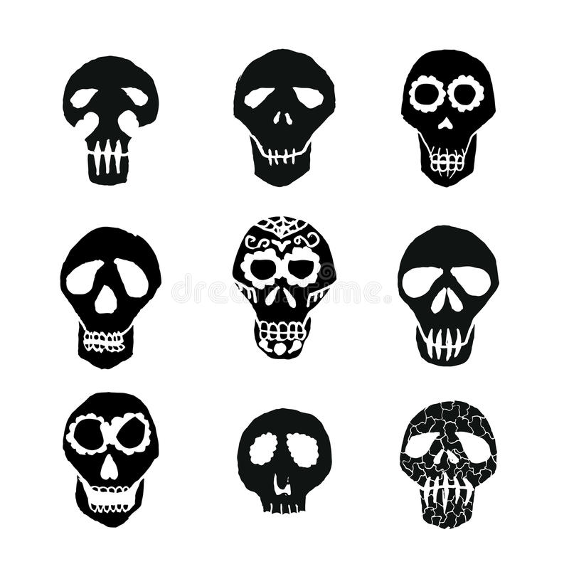 Crani messicani dello zucchero di Dia de los Muertos messi illustrazione di stock