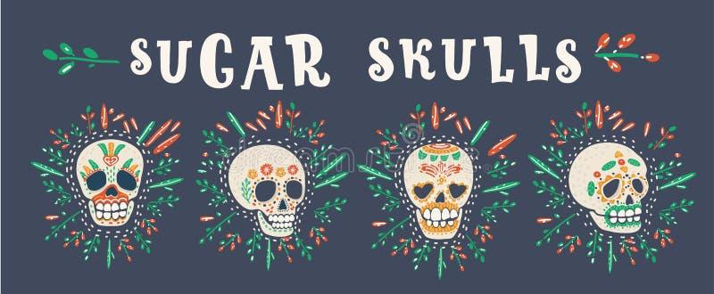 Crani messicani dello zucchero, Dia de los Muertos illustrazione vettoriale