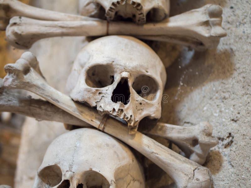 Crani umani ed ossa utilizzati come decorazione nell'ossario di Sedlec, repubblica Ceca immagini stock libere da diritti