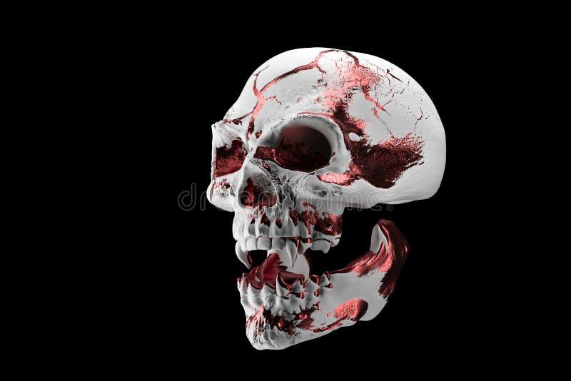 Cranio bianco dorato isolato su fondo nero Il cranio demonico di un vampiro Fronte spaventoso dello skilleton per Halloween illustrazione di stock