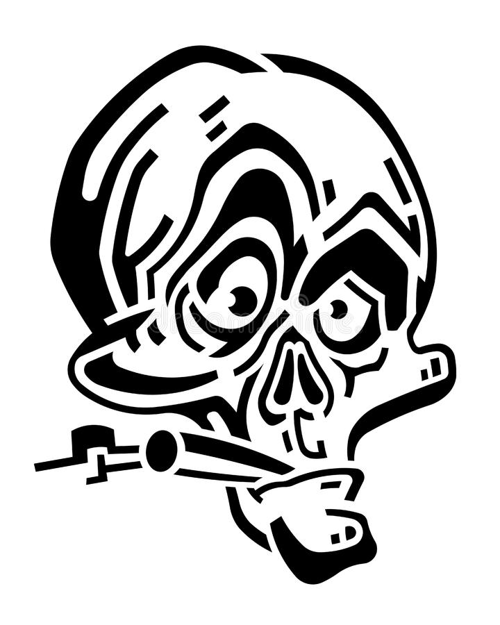 Cranio in bianco e nero divertente con la sigaretta illustrazione di stock