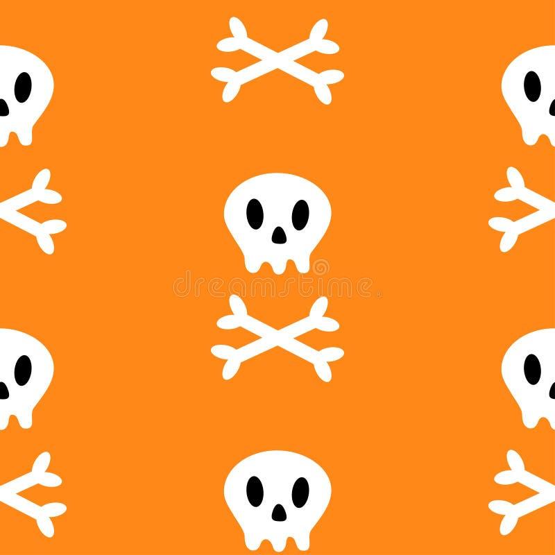 Cranio con dell'osso l'icona di traverso Tibie incrociate bianche Parte del corpo di scheletro Reticolo senza giunte Simbolo feli illustrazione di stock