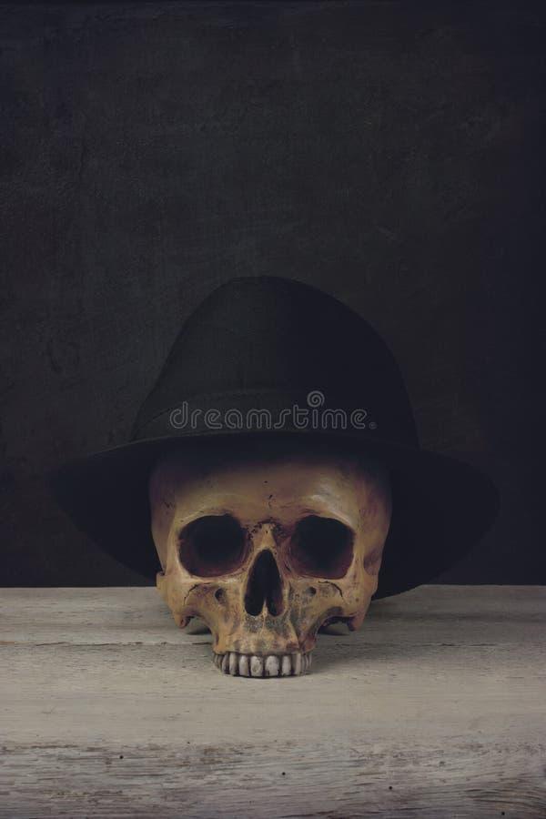 Cranio con Fedora Hat fotografie stock