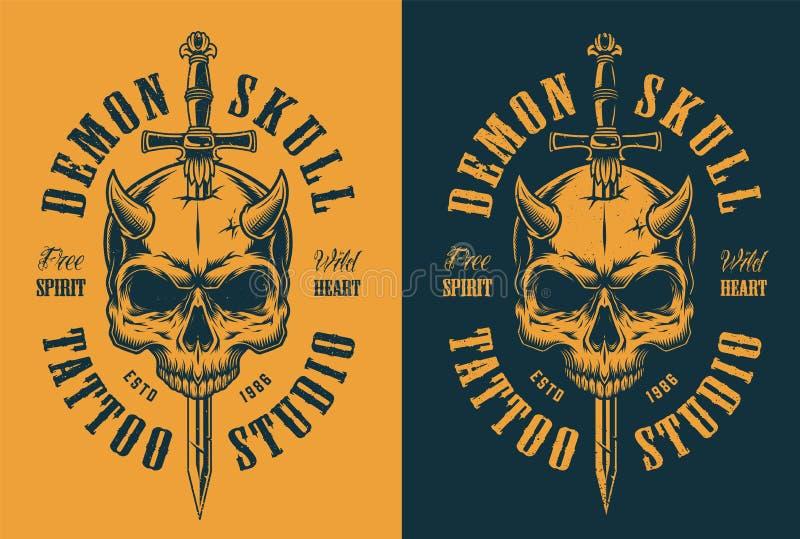 Cranio con il corno e la spada royalty illustrazione gratis
