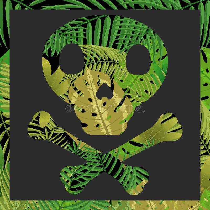 Cranio con il fondo tropicale della foglia fotografia stock libera da diritti
