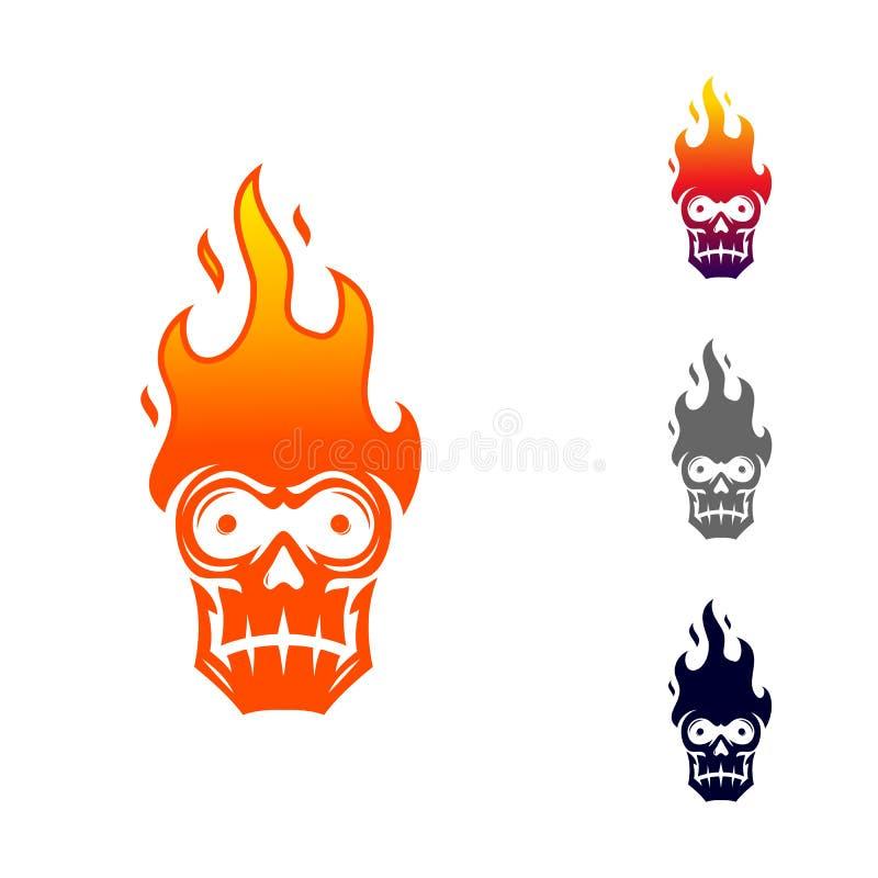 Cranio con il modello di progettazione di logo del fuoco illustrazione vettoriale