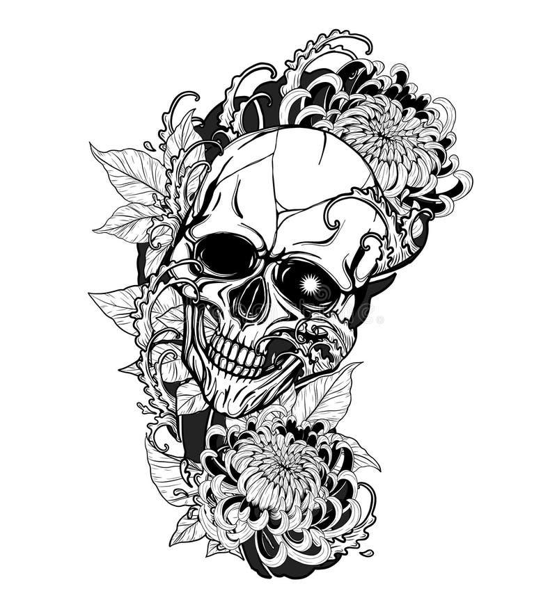 Cranio con il tatuaggio del crisantemo che disegna a mano royalty illustrazione gratis