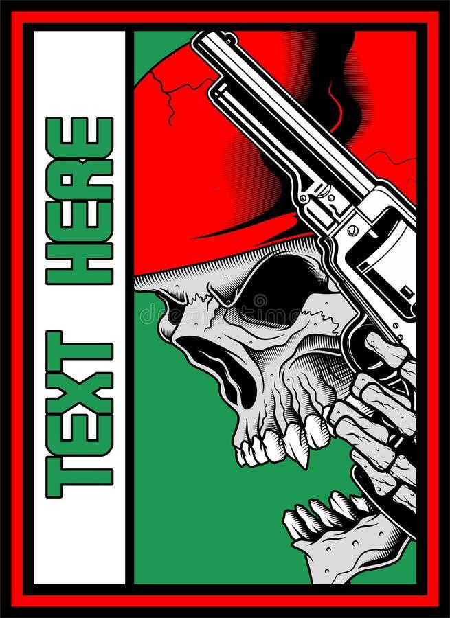 Cranio con il vettore di iluustration della pistola illustrazione vettoriale