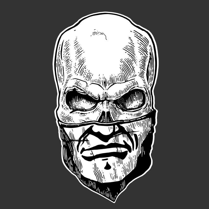 Cranio con la bandana con un modello umano Illustrazione d'annata nera di vettore Per il club del motociclista del tatuaggio e de royalty illustrazione gratis