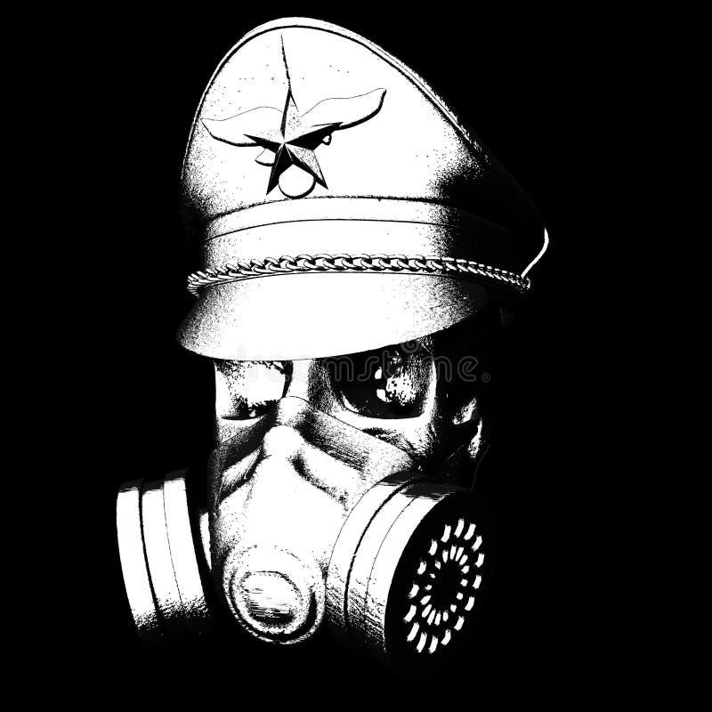 Cranio con la maschera antigas royalty illustrazione gratis