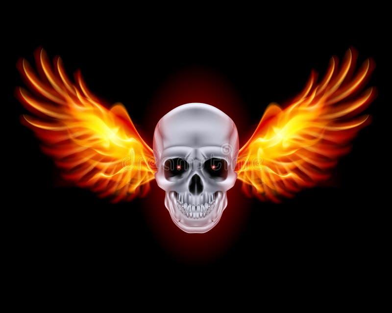 Cranio con le ali del fuoco. illustrazione di stock