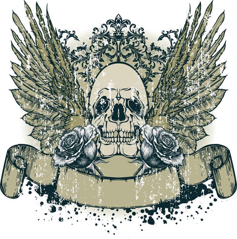 Cranio con le ali e le rose di fioritura, mano-illustrazione. royalty illustrazione gratis