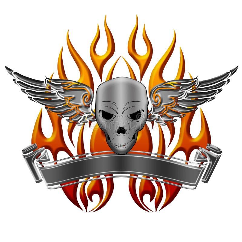 Cranio con le fiamme e la bandiera delle ali illustrazione vettoriale